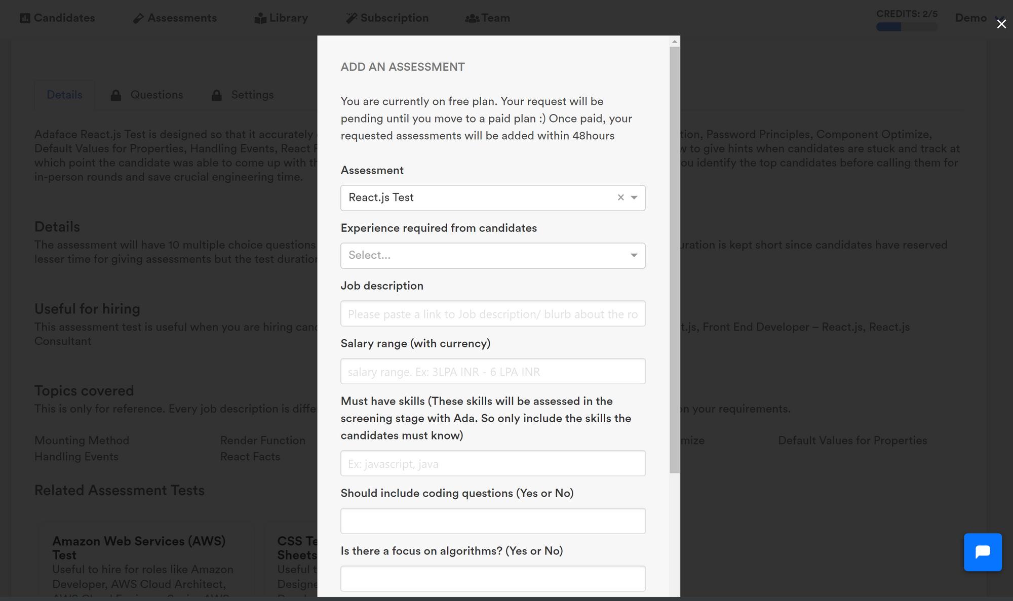 Requesting a custom assessment image
